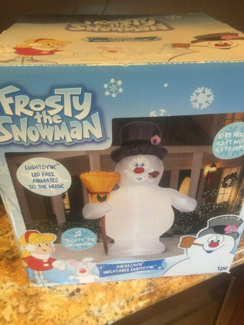 Gemmy Frosty The Snowman Airblown Inflatable 10ft Lightsync Animates Music Led