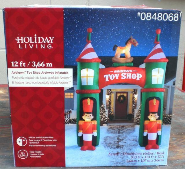 Gemmy Giant 12 Ft Tall Lighted Santa's Toy Shop Archway Christmas Inflatable New