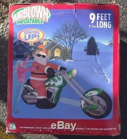 Gemmy Inflatable Airblown Santa Claus Motorcycle Chopper Bike Christmas Light Up
