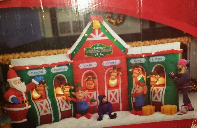 Gemmy Inflatable Christmas Reindeer Stable & Santa Claus 12'ft With Extra Blower