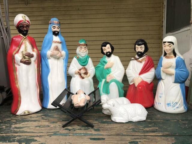 General Foam 10pc Small Nativity Blow Mold Set-soft White Plastic (rare-htf-nos)