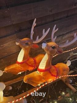 General Foam Blow Mold Santa & 8 Reindeer + Rudoloph