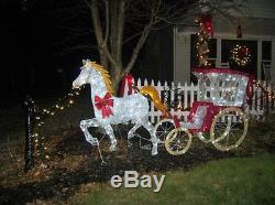 Giant Lighted Led Horse And Carriage Christmas Display Outdoor Yard Prop Rare