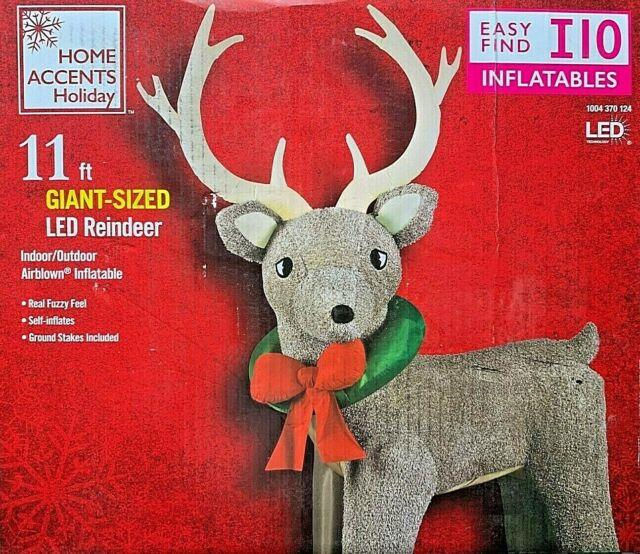 Giant New 11 Ft Tall Christmas Reindeer With Real Fuzzy Feel Gemmy Inflatable