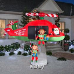 Giant New 9.5 Ft Long Santa Claus Elves Christmas Helicopter Gemmy Inflatable