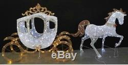 Gold White Lighted Horse Carriage Display Sculpture Outdoor Christmas Decoration