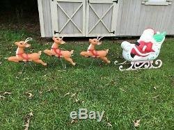 Grand Venture Santa sleigh and Three Reindeer Blow Molds