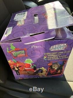 Grinch On Sled Inflatable Christmas Gemmy Rare 2004 Inflatable Airblown Htf