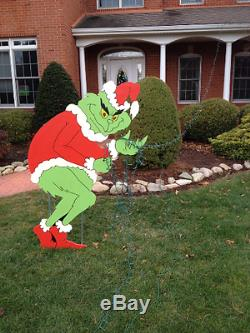 Grinch Stealing Christmas Lights Yard Art- Grinch Painted on BOTH sides
