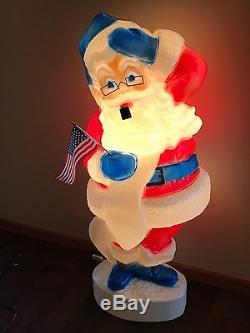 HTF Vintage 43 Union Patriotic Christmas Santa with List Lighted Blow Mold Decor