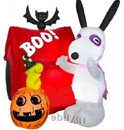 Halloween 5 Ft Snoopy Pumpkin Woodstock Doghouse Airblown Inflatable Yard Gemmy