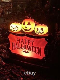 Halloween Blow Mold Plastic Tombstone Light Up New Pumpkins Trick Or Treat 2021