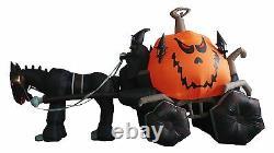 Halloween Inflatable Grim Reaper Drives Pumpkin Carriage Horse Yard Decoration