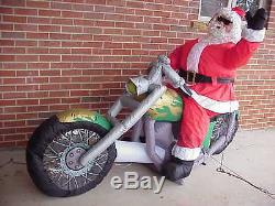 Hard rare to find 7.5' Santa on Motorcycle Chopper Lighted Airblown Inflatable