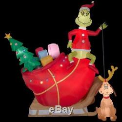 Holiday 12 ft. Inflatable Grinch Max in Sleigh 12 ft. Colossal Airblown Scene