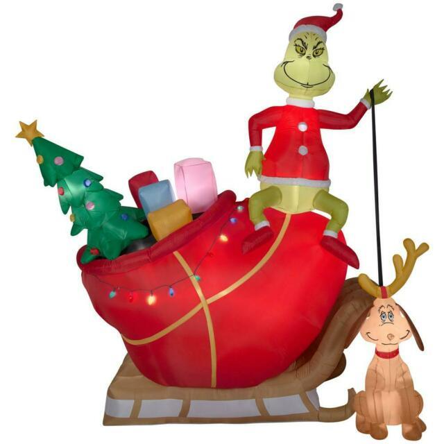 Holiday 12 Ft. Pre-lit Inflatable Grinch And Max In Sleigh Colossal Airblown