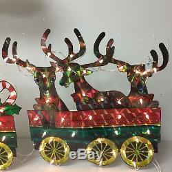 Holographic Christmas Train Santa Decoration 6 Feet Lights Yard Outdoor