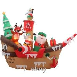 Home Accents Holiday 8 foot Inflatable Giant Christmas Pirate Ship Scene