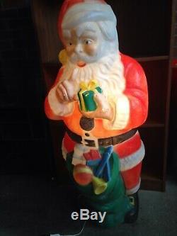 Huge Rare 44 Holiday Santa Claus Toy Sack Christmas Blow Mold Yard Light