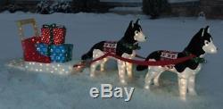 Huskie Sled Dog Team Tinsel Light Display Christmas Yard Decor holiday over 11