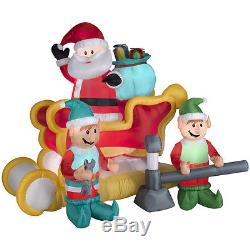 Inflatable Santa Sleigh Elf Christmas Blow Up Outdoor Holiday Decoration Animate