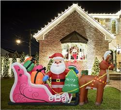 Inflatable Snowman & Double Deer With Sled Christmas Lighted Blow-Up Yard Decor, 6