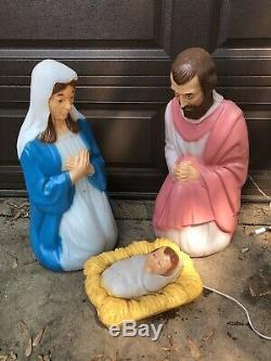 Jesus Mary Joseph Blow Mold Light Nativity Baby Christmas General Foam Set 3pc