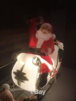 Large Santa w Sleigh and Reindeer Christmas Blow Mold Plastic GENERAL FOAM USA