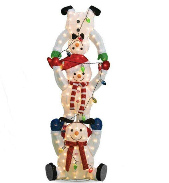 Life Size 65 Christmas Snowman Trio Fluffy Tinsel Stack Led Lighted Yard Decor
