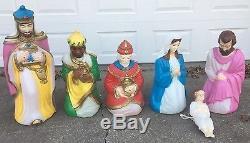 Life Size Vintage Empire Blow Mold Nativity Set Scene 6 Pieces 1980/1990 GREAT