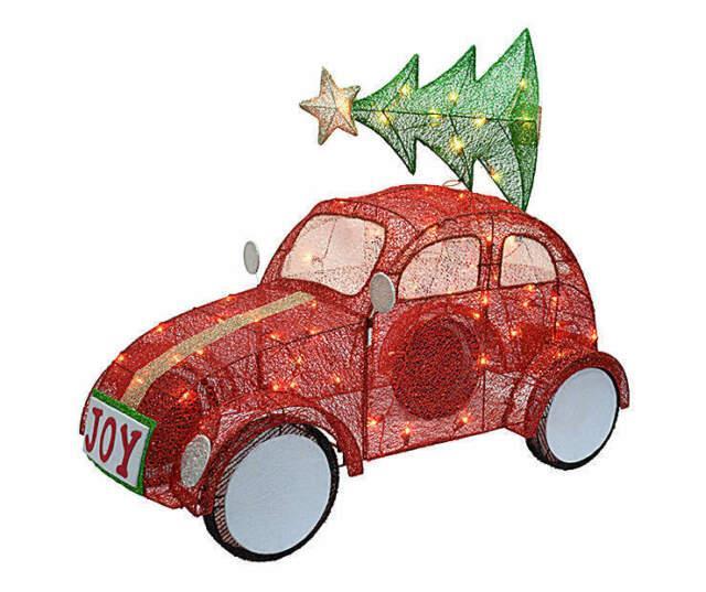 Lighted Red Volkswagen Beetle Car Sculpture Outdoor Christmas Decor Yard