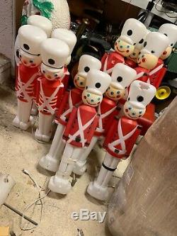 Lot/ 12 Vintage Empire 30 Christmas Lighted Blow Mold Toy Soldier Nut Crackers