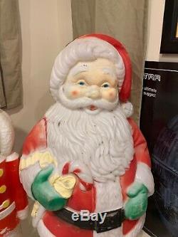Lot Of 4 Vintage Blow Molds Santa Snowman Soldier
