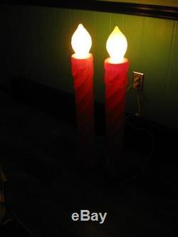 Lot Of 4 Vintage Union Christmas Candle Lighted Blow Mold 35 Tall Yard Decor