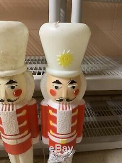 Lot Of 5 Christmas Empire Blowmold Soldier 30 Nutcracker White Hat