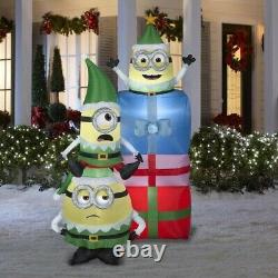 Merry Minions Mischief Bob Stuart And Otto Elves 6.5 Feet Inflatable Christmas
