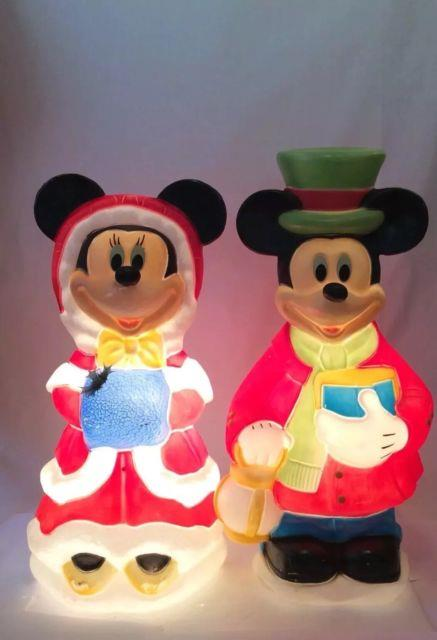 Mickey & Minnie Mouse Blow Mold Set 32 Disney Christmas Decorations Lighted