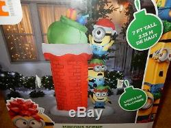 Minions Christmas Chimney Present Gemmy Inflatable 7 Feet Tall New Free Ship