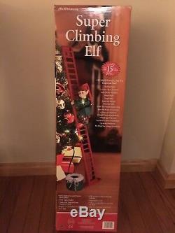 Mr Christmas Animated Lighted Super Climbing Elf Climbs Ladder Plays 15 Carols
