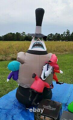 NBC Inflatable Jack Skellington with Rotating Mayor, Lock, Shock, and Barrel