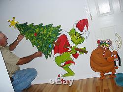 New 3-pc. Set Grinch Steeling Christmas Tree And Max Christmas Yard Art Decor