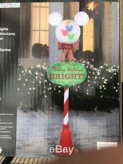 NEW 5ft Mickey Mouse Holiday Disney Christmas Lamp Post with Color LED Lights