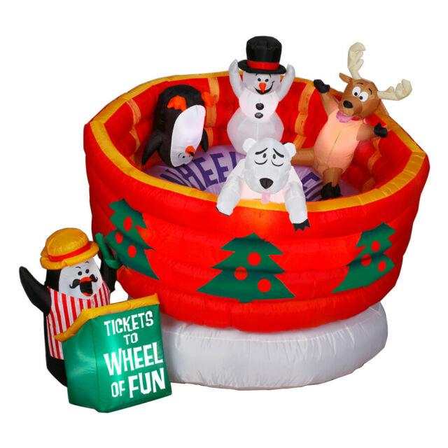 New 6' Gemmy Christmas Lighted Animated Wheel Of Fun Airblown Inflatable-rare