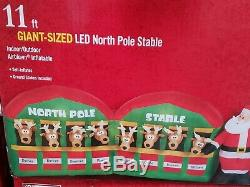 NEW Christmas Giant 11' Santa Reindeer North Pole Stable LED Inflatable Airblown