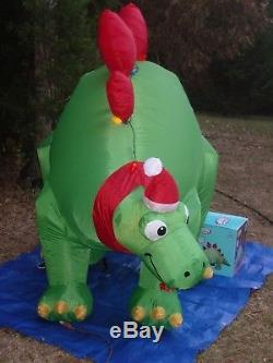 NEW Gemmy 9' Christmas Stegosaurus Dinosaur Lighted Inflatable Airblown Blow-up