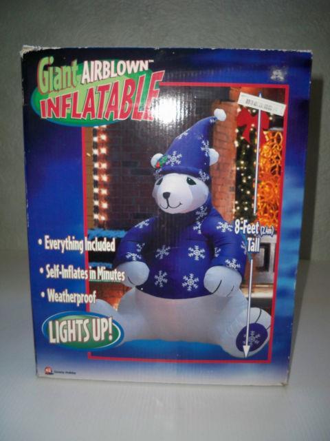 New Giant 8' Gemmy Airblown Inflatable Polar Bear Lights Up 2003 Rare