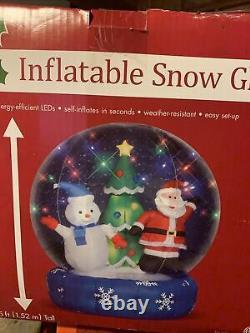NEW IN BOX Christmas Airblown Inflatable Snow Globe Santa Claus & Snowman