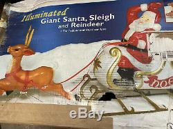 NEW! RARE Empire Mold Giant Santa Claus Sleigh Reindeer Noel Christmas Blow Mold