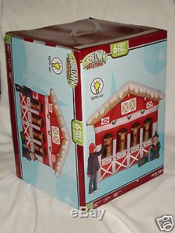 NEW Rare 6' Gemmy Christmas Reindeer Stables Lighted Airblown Inflatable