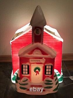 NEW Rare Vintage Christmas Lighted Blow Mold Red Old School Yard Decoration